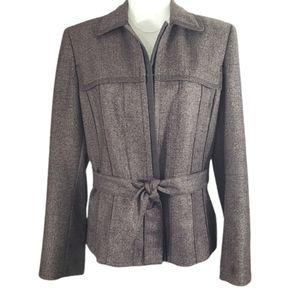 Nipon Boutique Blazer Brown Pleated Tie Front 12